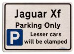 Jaguar Xf Car Owners Gift| New Parking only Sign | Metal face Brushed Aluminium Jaguar Xf Model